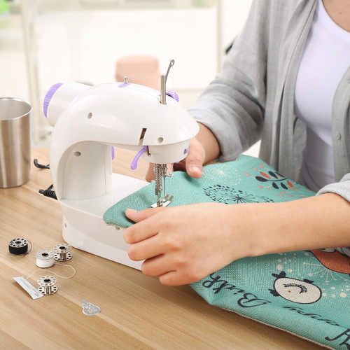 Mini Sewing Machines Set Handheld EU Plug Dual Speed Double Thread Electric Automatic Stitching Rewind Sewing Machine Needlework