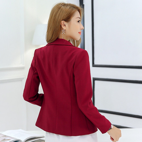 2018 New Fashion Basic Jacket Blazer Women Navy Burgundy Suit Ladies Spring One Button Brand Coats Casual Blazer Female C87327X