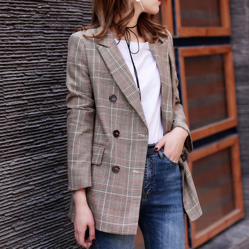 2018 New Plaid Formal Suits for Women Fashion Newest  Designer Blazer Women's Long Sleeve Jacket J17CA2005