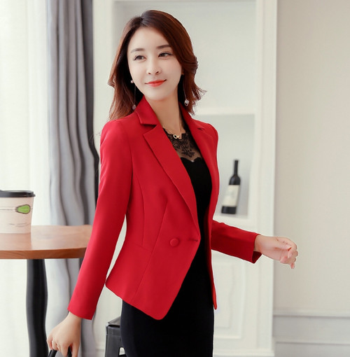 Hot Sale 2018 Autumn Winter New fashion Suit Slim Thin Single Row One Buckle Female Jacket Solid Color Women Long Sleeve Blazer