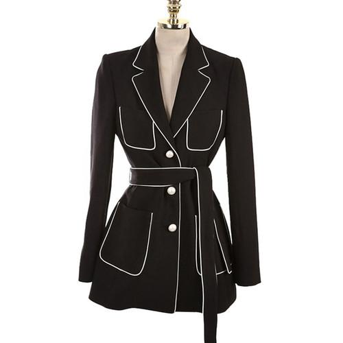 2018 New Beading Lace Up Office Lady Blazer Jacket Fashion Notched Work Suit Elegant Single Breasted Blazers Feminino