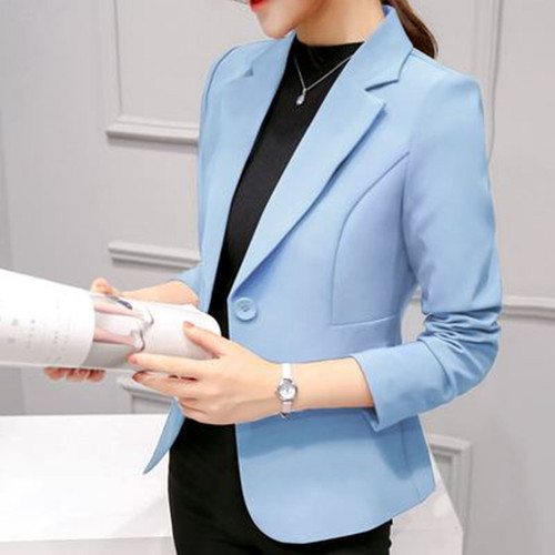 Ladies Blazers 2018 New Fashion Single Button Blazer Women Suit Jacket blue/wine red/pink/black/white casual Blazer Female