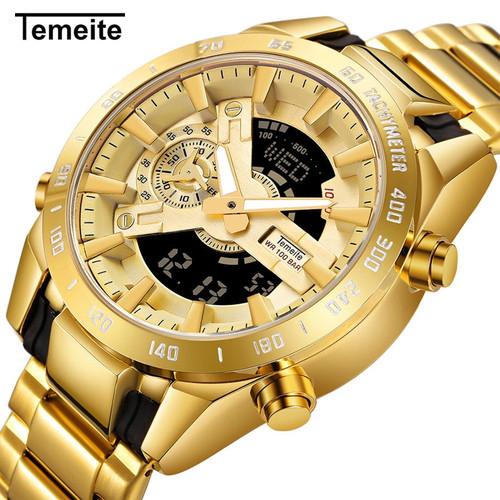 Temeite Golden Watches Men Luxury Brand Dual Display Men's Sport Digital Watch Luminous Quartz Clock Male Relogio Masculino