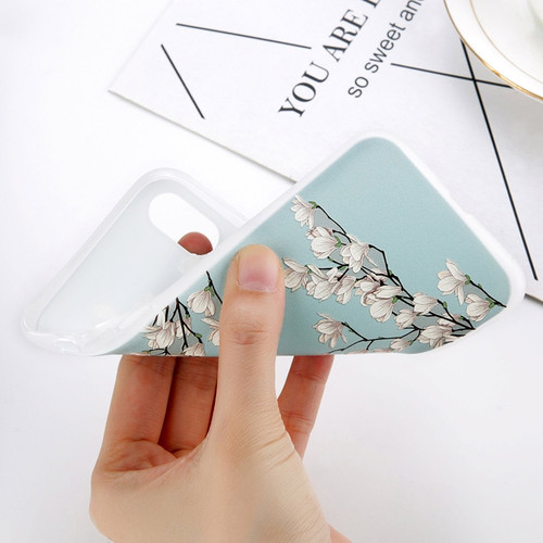 USLION Matte TPU Flower Phone Case For iPhone X 8 Plus Magnolia Floral Back Cover For iPhone 7 6 6S Plus Soft Silicone Cases