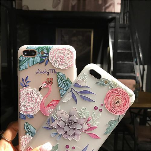 USLION Flower Silicon Phone Case Flamingo pattern For iphone X Case For iphone 7 Plus 6 6S 8 Plus
