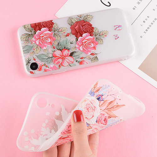 USLION For iPhone XR XS Max X 8 7 6 6s Plus Flower Case 3D Relief Rose Floral Phone Cases Matte Soft TPU Silicone Back Cover