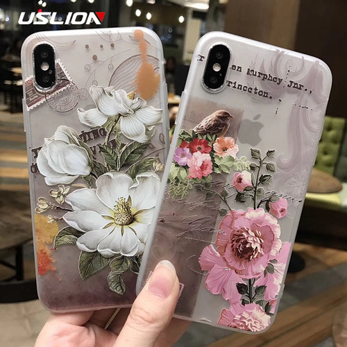 USLION Phone Case For iPhone XR XS Max 8 7 Plus 3D Relief Flower Cases For iPhone 6 6s Plus Matte Floral Silicone TPU Back Cover