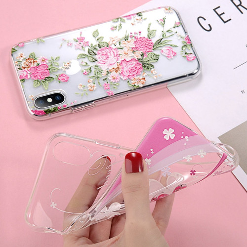 USLION Phone Case For iPhone XS Max XR X 8 7 Plus Clear 3D Relief Flower Leaves Back Cover Silicone Cases For iPhone 6 6s Plus