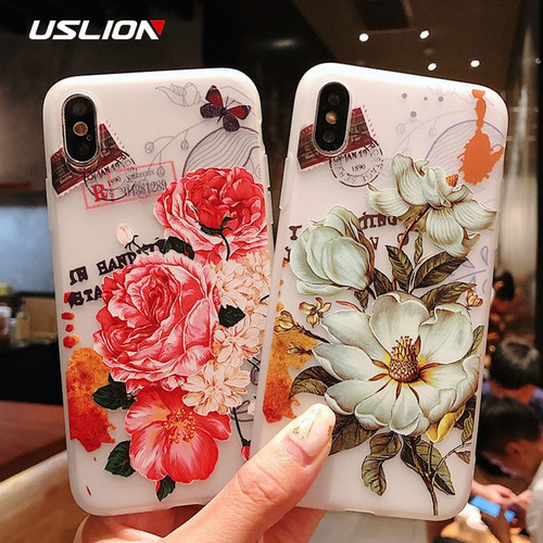 USLION Flower Soft TPU Case For iPhone X XR XS Max 3D Relief Floral Phone Cases For iPhone XR Clear Silicone Back Cover Coque