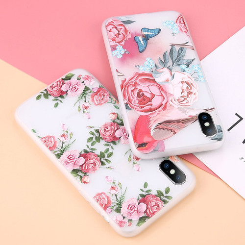 USLION Case For iPhone XR XS Max Rose Floral Phone Cases For iPhone X XS 3D Relief Flower TPU Silicone Soft Back Cover Coque