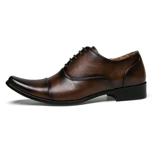 JUNJARM 2018 Men Dress Shoes Quality Men Formal Shoes Lace-up Men Business Oxford Shoes Brand Men Wedding Pointy Shoes