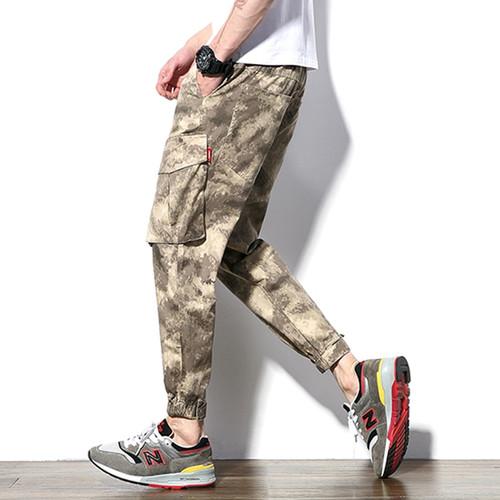Tsingyi Autumn Plus size Loose Man Joggers Casual Pants Black Camo Multi Pockets Hip Hop Cargo Pant Drawstring Tactical Joggers