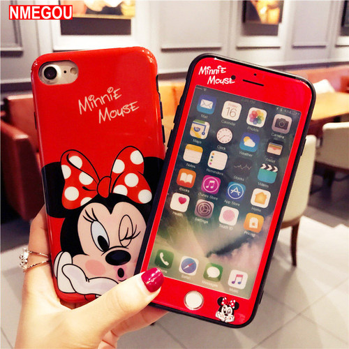 For IPhone XS Max Luxury Cartoon Minnie Mickey Mouse Women Protective Case Glass for I Phone X XR 8 7 6 6s Plus Cute Full Cover