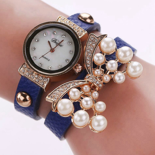 New Watches Women Luxury Bow Pearl Bracelet Wristwatch Women Fashion Leather Electronics Watch Clock Black Brown Red