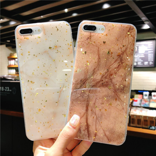 Lovebay Gold Foil For iPhone 6 6s 7 8 Plus X Phone Case Luxury Glitter Bling Marble Glossy Soft TPU Phone Case For iPhone 8 Capa