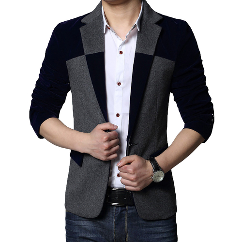 Man Blazer Casual Suit Jacket Buttons Men Spring Jackets Slim Fit Work Wear Patchwork Erkek Mont Korean Male Blazers Suits 7X007