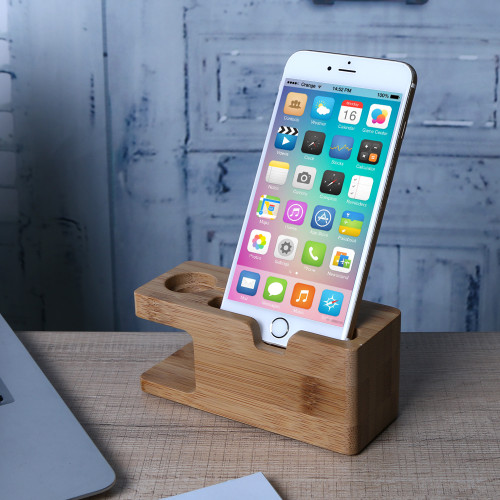 Alloet Wooden Charging Dock Station for Mobile Phone Holder Stand Bamboo Charger Stand Base For Apple Watch and For iphone