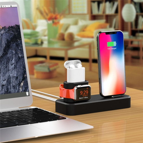 Coolreall Charging Dock Holder 3 in 1 Apple Watch Silicone charging stand Dock Station Charger For  iPhone X XR XS Max 8 7 6