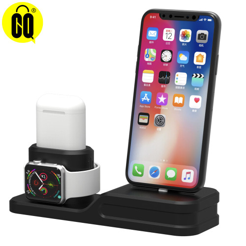 Base For iPhone X/8/7/6/5,3 in 1 Charging Dock station desk phone Holder mobile support For Apple watch stand For Airpods