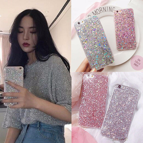 Fashion Bling Shining Powder Sequins Phone Cases For iPhone X 8 7 6 6S Plus 5 5S SE Case Glitter Soft Silicone Back Cover Coque