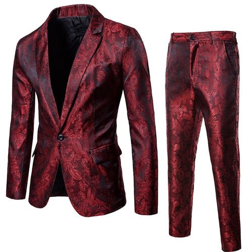Black Paisley Floral Suit ( Jacket+Pants) Men 2018 Autumn New Stage Singer Suit Jacket Wedding Tuxedo Blazer Men Costume Homme