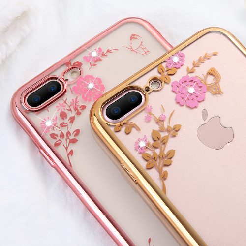 KISSCASE Phone Case For iPhone 5 5S SE Luxury Plating Diamond Floral Cases For iPhone 8 7 Plus 6S 6 Plus 6 S 6 XS MAX XR X Cover