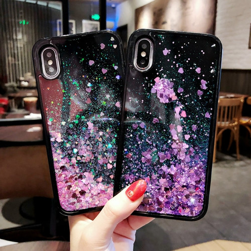 Bling Liquid Quicksand Phone Case For iPhone X XS 7 8 Plus Black Shiny Sequin PC Glitter Case Cover For iPhone 5 5S SE 6 6S Plus
