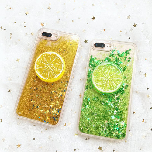 Summer 3D Lemon DIY Dynamic Liquid Quicksand Stars Glitter Phone Case For iphone 7Plus 6 6S Colorful Bling Back Cover Capa Coque