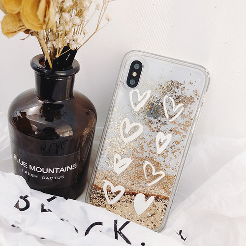 Luxury Cute Love Heart Gold Bead Bling Glitter Dynamic Liquid Quicksand Phone Case For iPhone X XS XR MAX 6 6S 7 8 Plus Cover