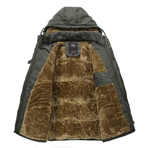 Plus Size 6XL 7XL 8XL Multi-Pocket Winter Jacket Men Velvet Hooded Middle Age Men`s -30 Degrees Warm Parka Coat Military Jacket