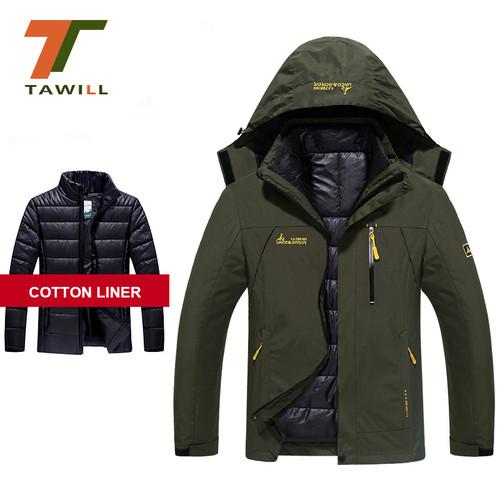 winter jacket men women cotton down parka warm waterproof windproof Detachable 2pcs set Hood Coat size M~4XL 5XL 6XL 1688