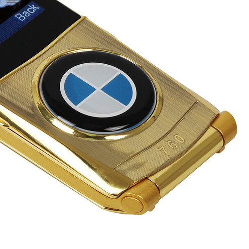 "BMW 760 Flip Mobile Phone Dual SIM Cards 1.77"" Mini Metal Body Car style Camera Single Core Button Russian Keyboard Phone"