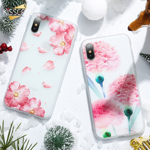 KISSCASE 3D Case For iPhone 7 6 s 6s 8 Plus 5s X Xr X Max Cover Flower Leaf Relief Soft Cover For iPhone 6 6s 7 8 Silicone Funda
