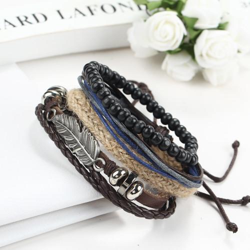1 Set 4PCS Leather  Men's Multi-layer Beads Bracelets For men women retro punk casual men's jewelry bracelet jewelry accessories