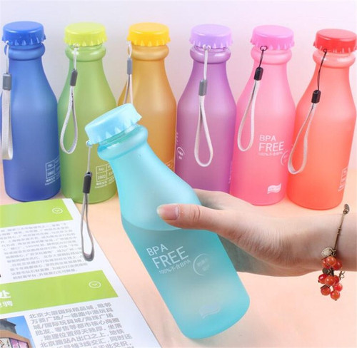 Fashion Colorful 550ml Unbreakable Frosted Leak-proof Plastic Kettle Portable Water Bottle for Travel Running Camping