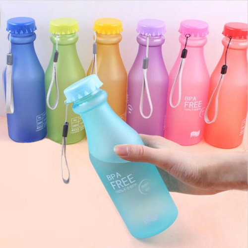 Candy Colors Unbreakable Water Bottles Frosted Leak-proof Plastic Kettle 550mL Portable Bottle for Travel Yoga Running Camping
