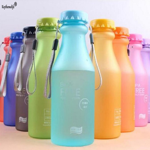 Keythemelife 1PC Portable Water Bottles Leak-proof Bike Sports Unbreakable Plastic Water Bottle 550ml Drinkware 7D