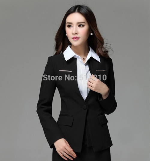 New Plus Size Elegant Red 2015 Autumn Winter Formal Business Women Blazer Coat Jackets Tops Blaser Feminino Clothes For Ladies