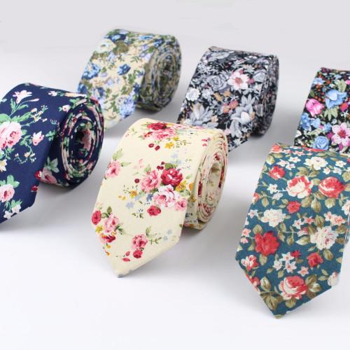 Flower Cotton Necktie Skeleton Artificial Skinny Ties Men Tulip Small Tie Anchor Designer Star Cravat Paisley