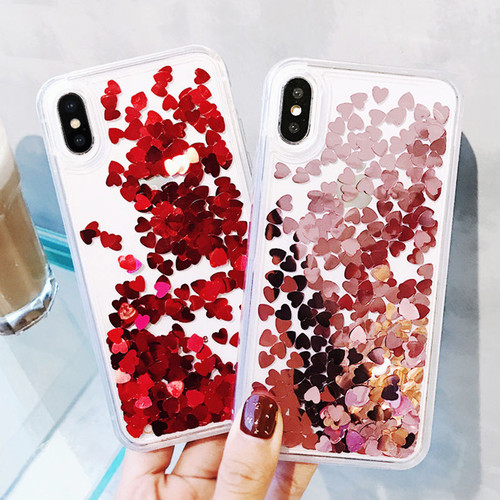 Bling love heart Sequins quicksand Phone Case for iphone X XS 8 7 Plus 6 6S Plus Shining Dynamic liquid glitter Back Cover