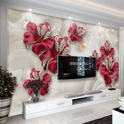 Custom 3D Photo Wallpaper Beautiful Stereo Jewelry Flower TV Wall Mural Living Room Bedroom Non-woven Mural Waterproof Wallpaper