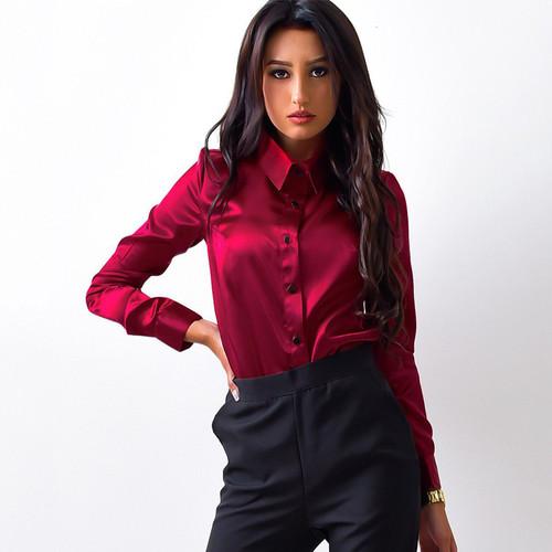 MOARCHO Women silk satin blouse button lapel long sleeve shirts ladies office work elegant female Top high quality blusa