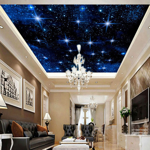Custom Large Seamless Mosaic Ceiling Zenith Mural Wallpaper 3D Stereo Starry Sky Landscape Wall Painting Living Room Home Decor