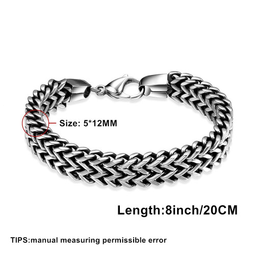 Tuswans Quality 316L Stainless Steel 5*12mm Extra Thick Link Chain Bracelets For Men Punk Rock Figaro Chain Wrist Band Wholesale