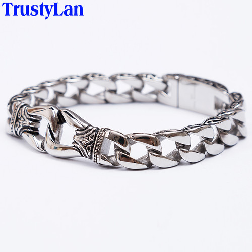 TrustyLan Fashion New Stainless Steel Charm Bracelet Men Vintage Totem Mens Bracelets 2018 Cool Male Jewelry Jewellery Armband