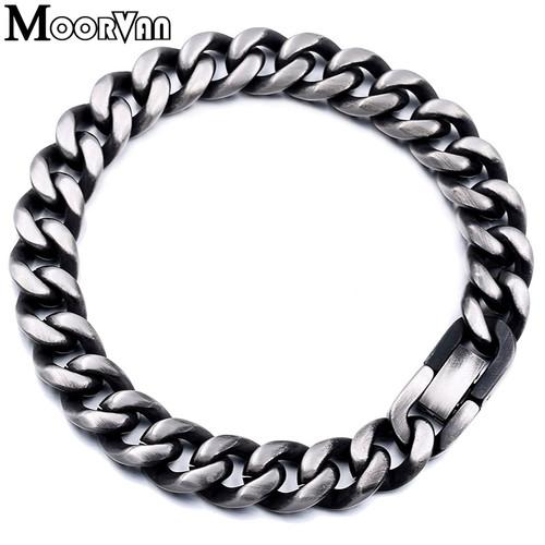 Moorvan men's bracelets,7MM/9MM/10MM wide rock trendy gift for man chain link stainless steel bracelet,hiphopboy jewelry VB507