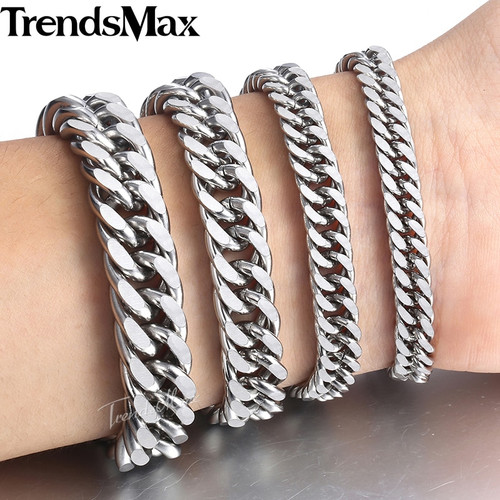 Trendsmax 7/9/11/13mm Men Bracelets Stainless Steel Bracelet Silver Color Curb Cuban Link Chain Bracelet Men's Jewelry KBM07