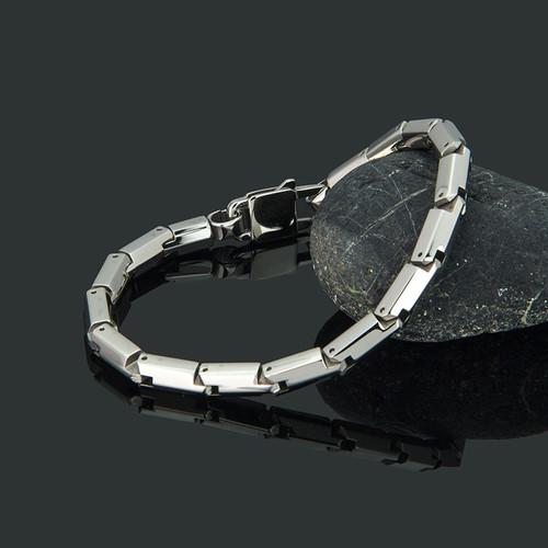 TrustyLan Trendy Men's Bracelets For Mans Silver Color 316L Stainless Steel Wristband Jewelry Adjustable 5MM Chain Bracelet Men