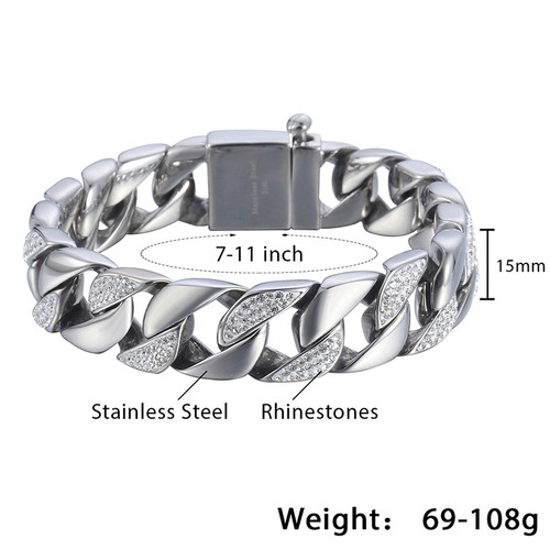 Davieslee Curb Link Bracelet Chain Mens Boys Iced-out Rhinestones Hiphop 316L Stainless Steel Silver Tone 15mm DHB467