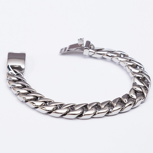 TrustyLan Fashion New Link Chain Stainless Steel Bracelet Men Heavy 12MM Wide Mens Bracelets 2018 Bicycle Chain Wristband
